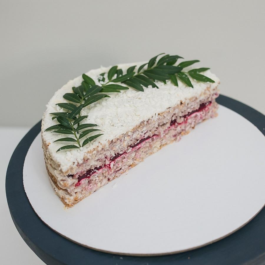 Веганский торт «Кокос-малина» 1кг.