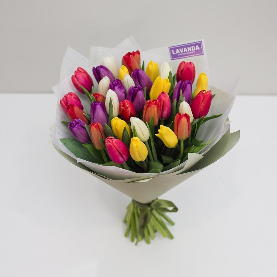 35 ярких тюльпанов в стильной пленке