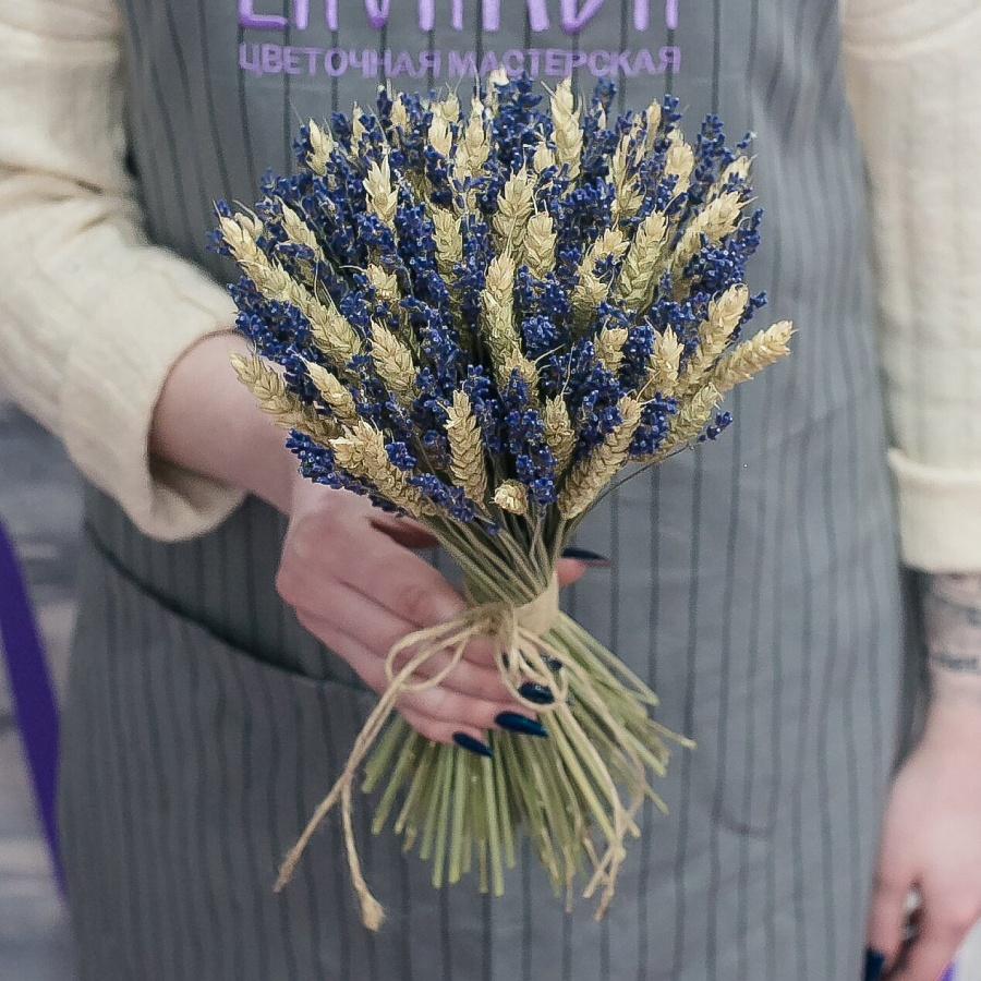 Букет сухой лаванды и пшеницы