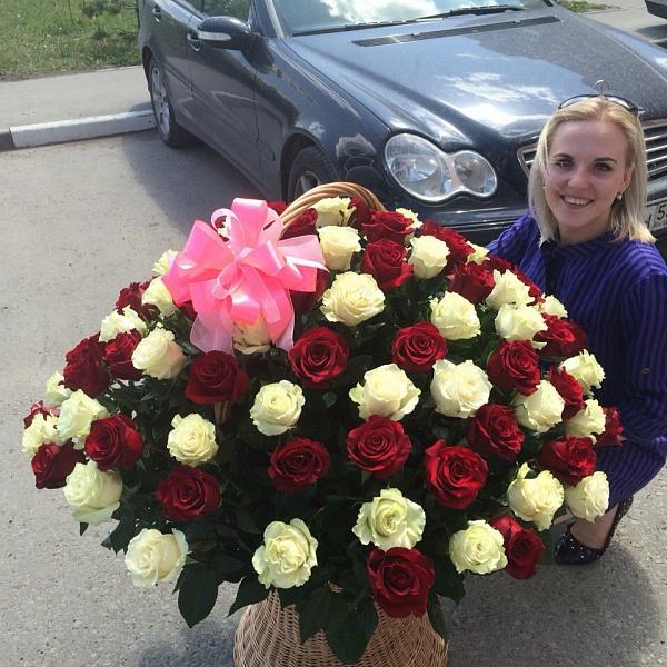 101 Эквадорская роза в корзине