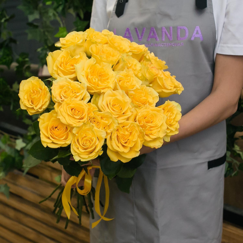 25 желтых роз 50 см.