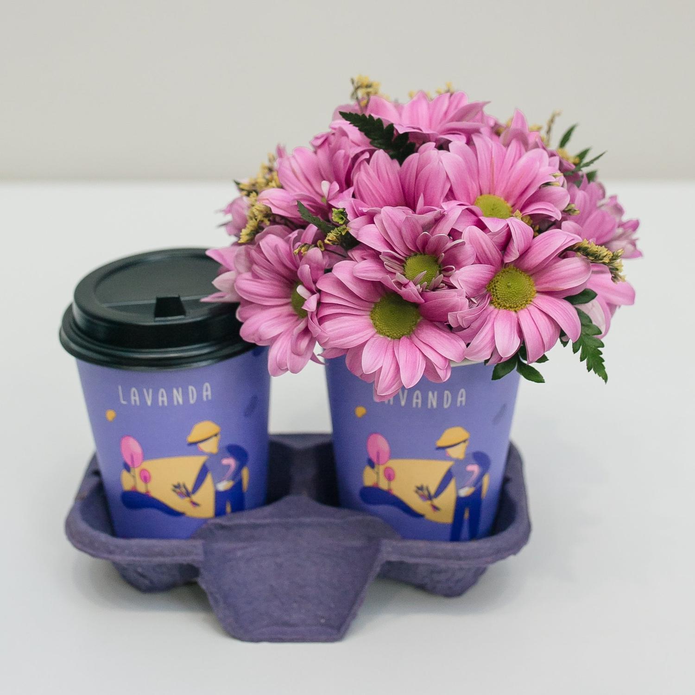 Раф лаванда + композиция в стаканчике с розовой бакарди