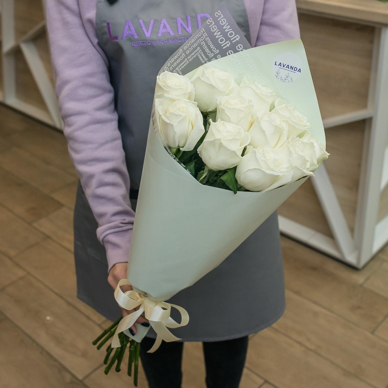 11 белых Эквадорских роз 50 см.