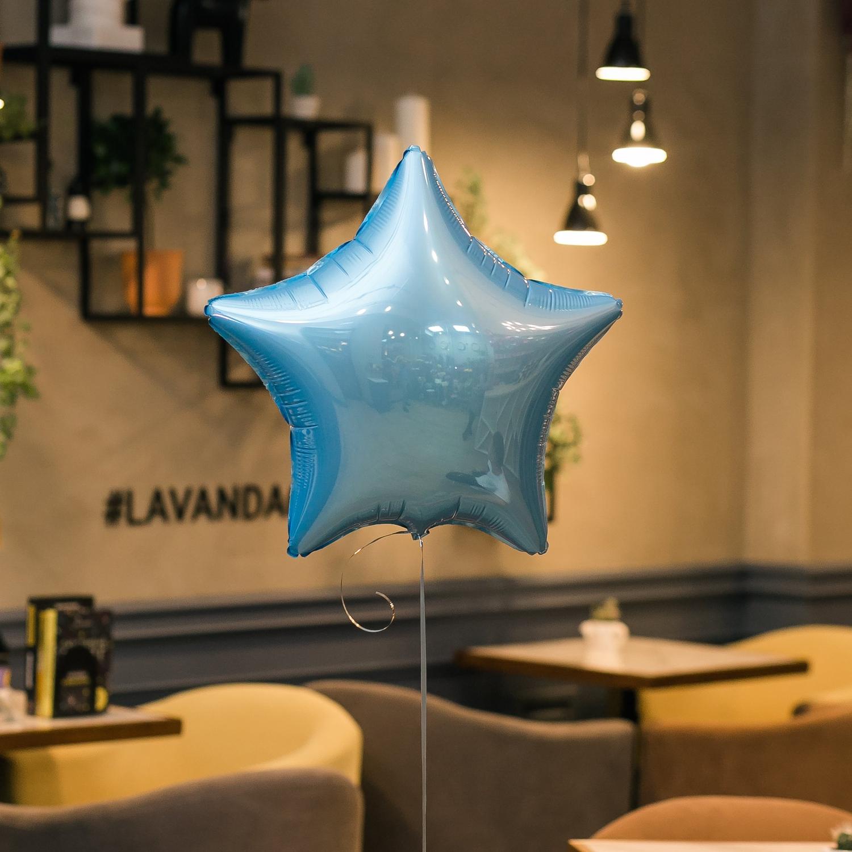 """""""Голубая звезда"""" фольгированный шар с гелием"""