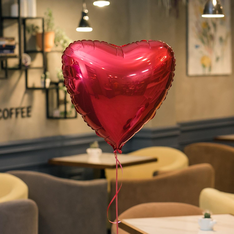 """""""Красное сердце"""" фольгированный шар с гелием"""