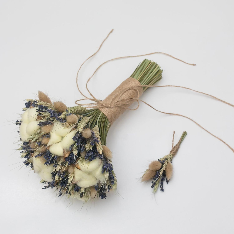 Букет невесты и бутоньерка из сухоцветов