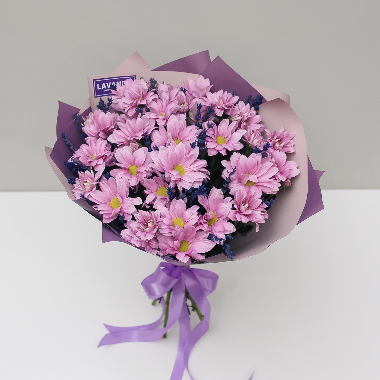 Букет розовой Бакарди с лавандой