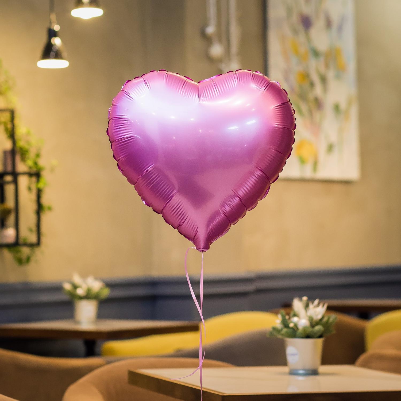 """""""Розовое сердце"""" фольгированный шар с гелием"""