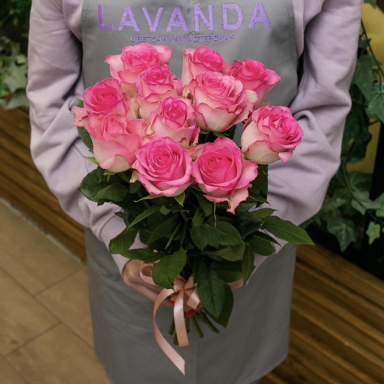 11 розовых роз 50 см.